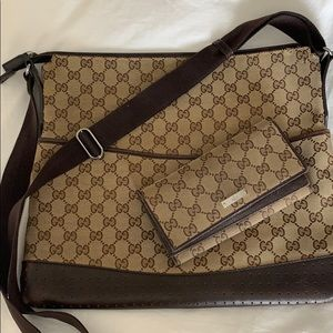 Gucci brown monogram messenger bag & wallet